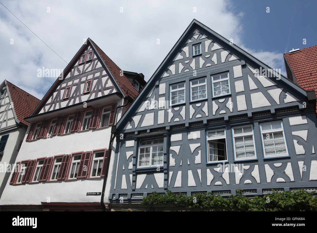 Traditional half-timbered houses in Marbach am Neckar, Baden-Wurttemberg, Germany. - Stock Image