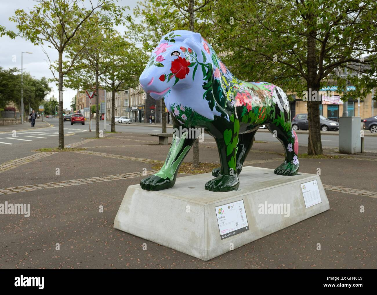 One of the painted lions in 'The Pride of Paisley Wild in Art Project', Paisley, Scotland, UK - Stock Image