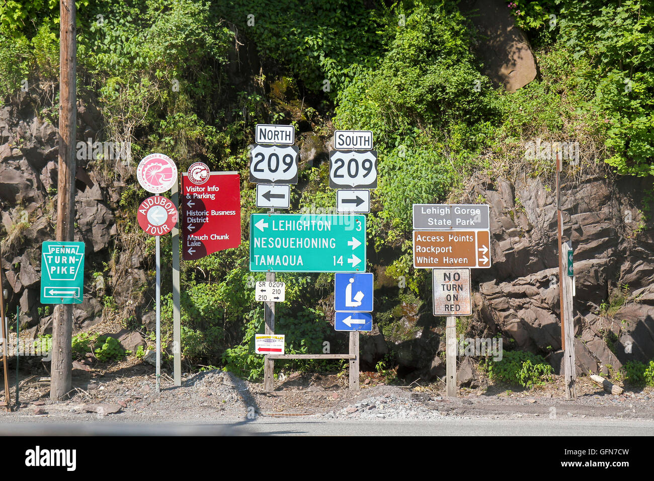 Road signs, Jim Thorpe, Pennsylvania - Stock Image