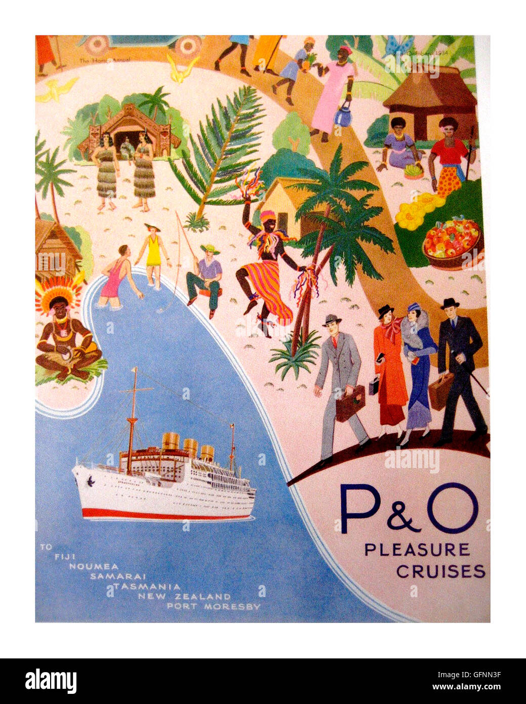 1930s P&O vintage cruise ship poster advertising voyages to the exotic South Pacific.  The rich and famous enjoyed - Stock Image