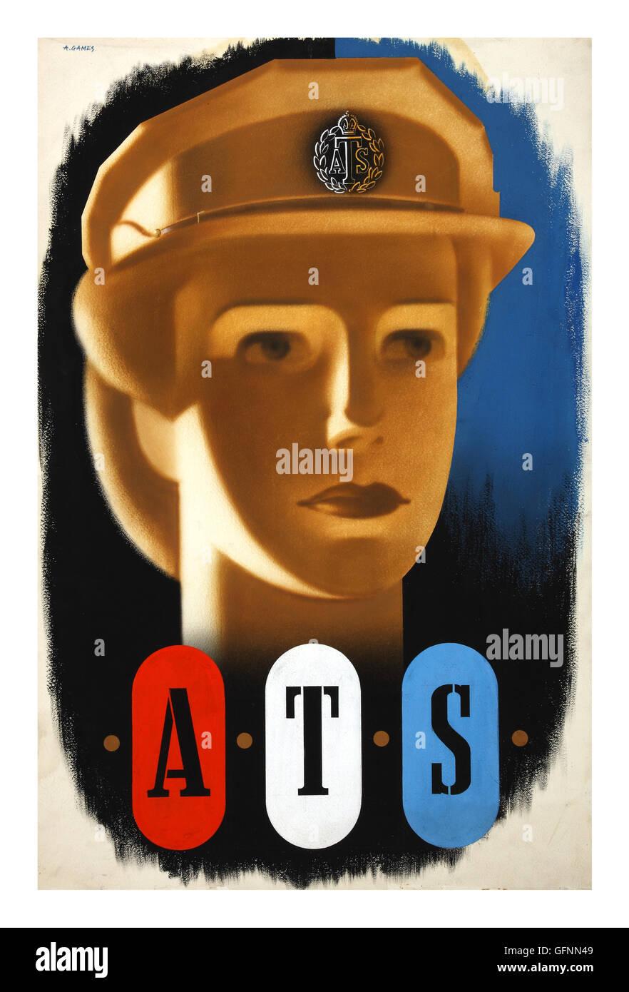 WW2 Propaganda recruitment poster 1940's for ATS Auxiliary Territorial Service Stock Photo