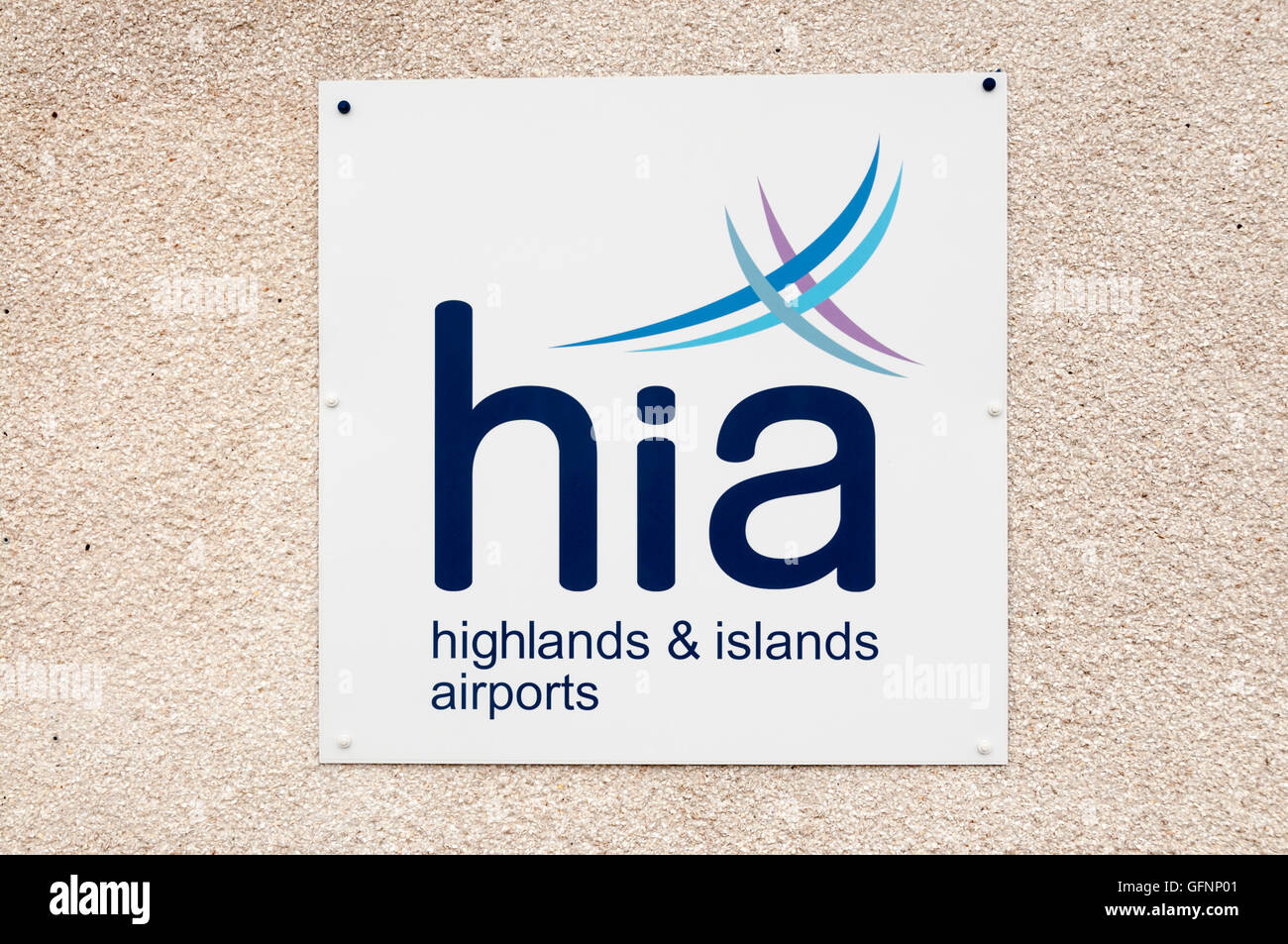 Sign for Highlands & Islands Airports at Barra Airport in the Outer Hebrides. - Stock Image