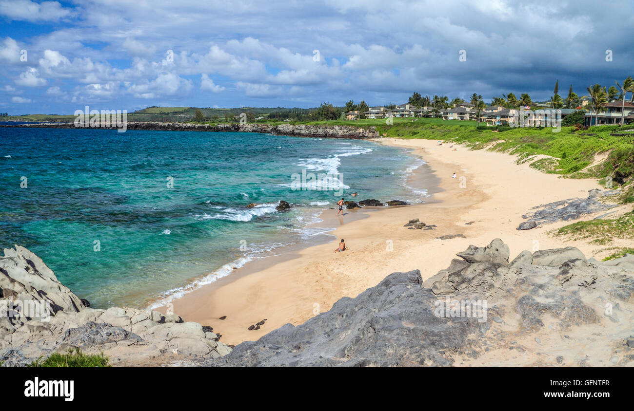 Oneloa Beach in Kapalua, which can be reached by the Kapalua Coastal Trail - Stock Image