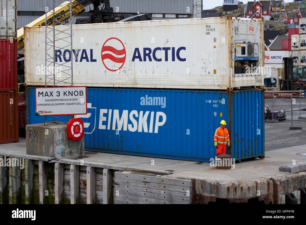 Shipping containers, Aasiaat, Greenland Stock Photo