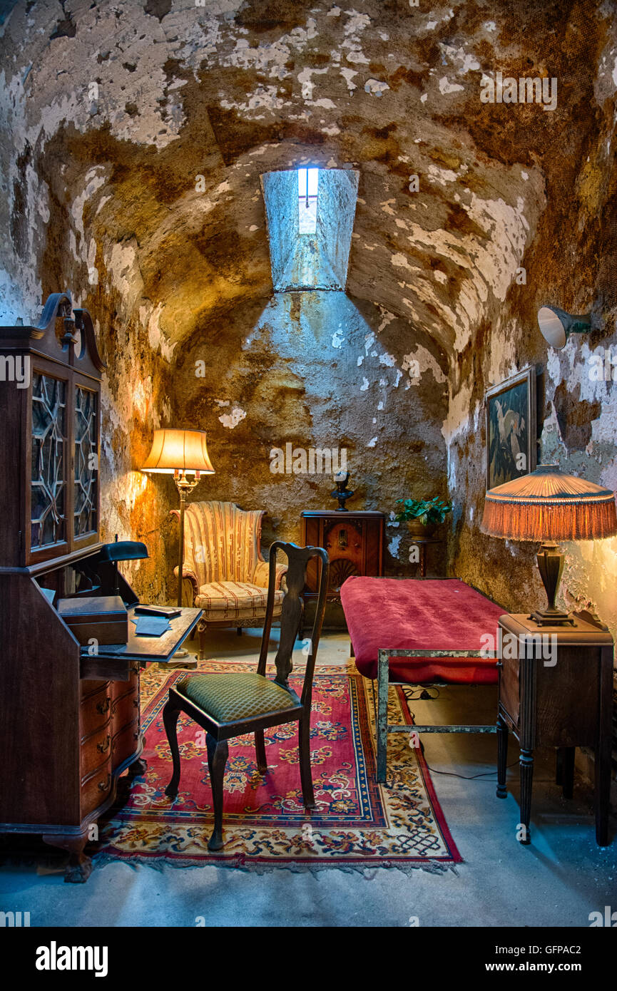 Al Capone's prison cell with elaborate furnishings at Eastern State Penitentiary, Philadelphia, PA, USA - Stock Image