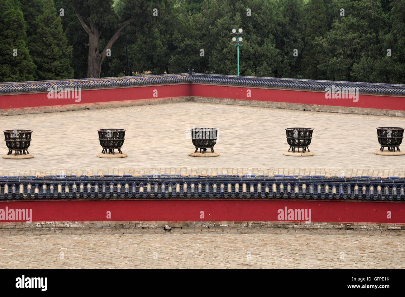 Fire pits and walls surrounding the Lingxing Gates located in Tiantan Park or temple of heaven scenic area in Beijing China. Stock Photo