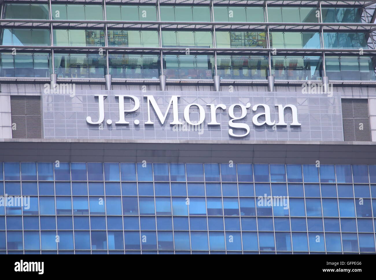 JP Morgan company logo, an American multinational banking and financial services holding company and the largest Stock Photo