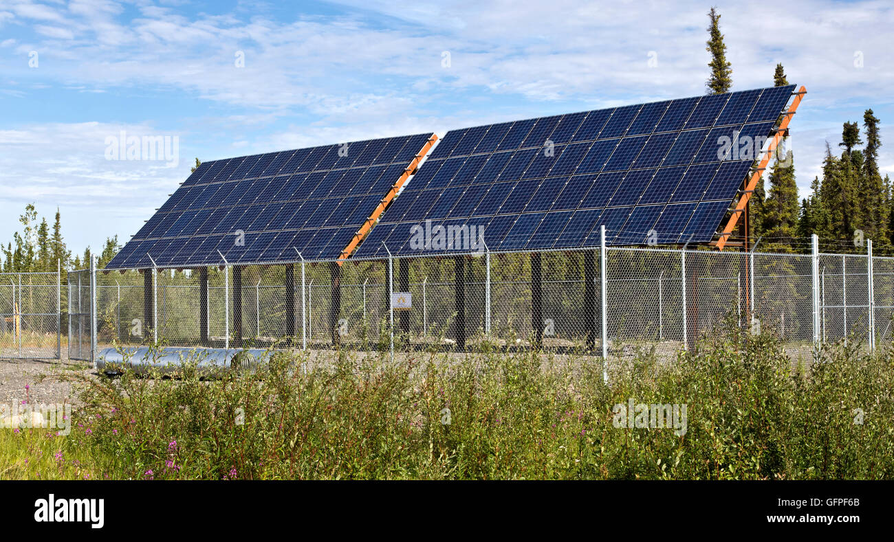 Newly installed solar electric panels. - Stock Image