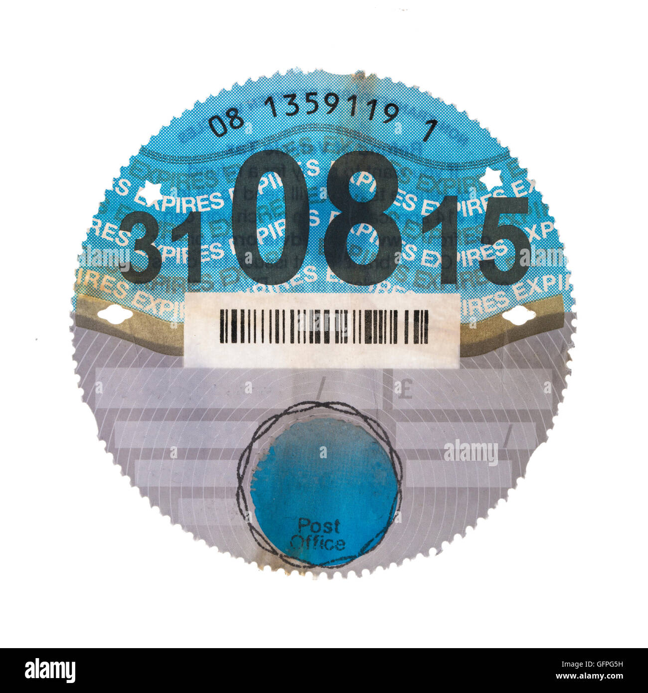 Old Uk Car Tax Disk On A White Background Stock Photo