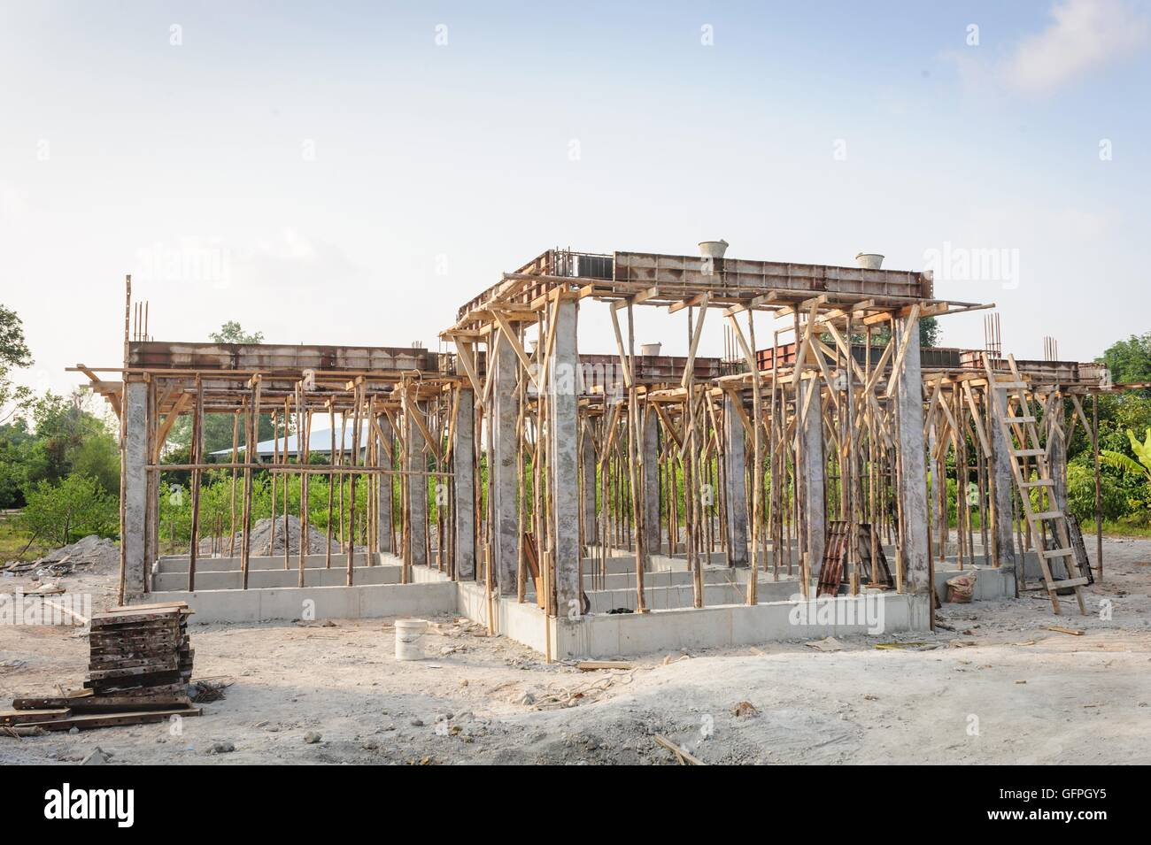 conventional building construction house site in Thailand. - Stock Image