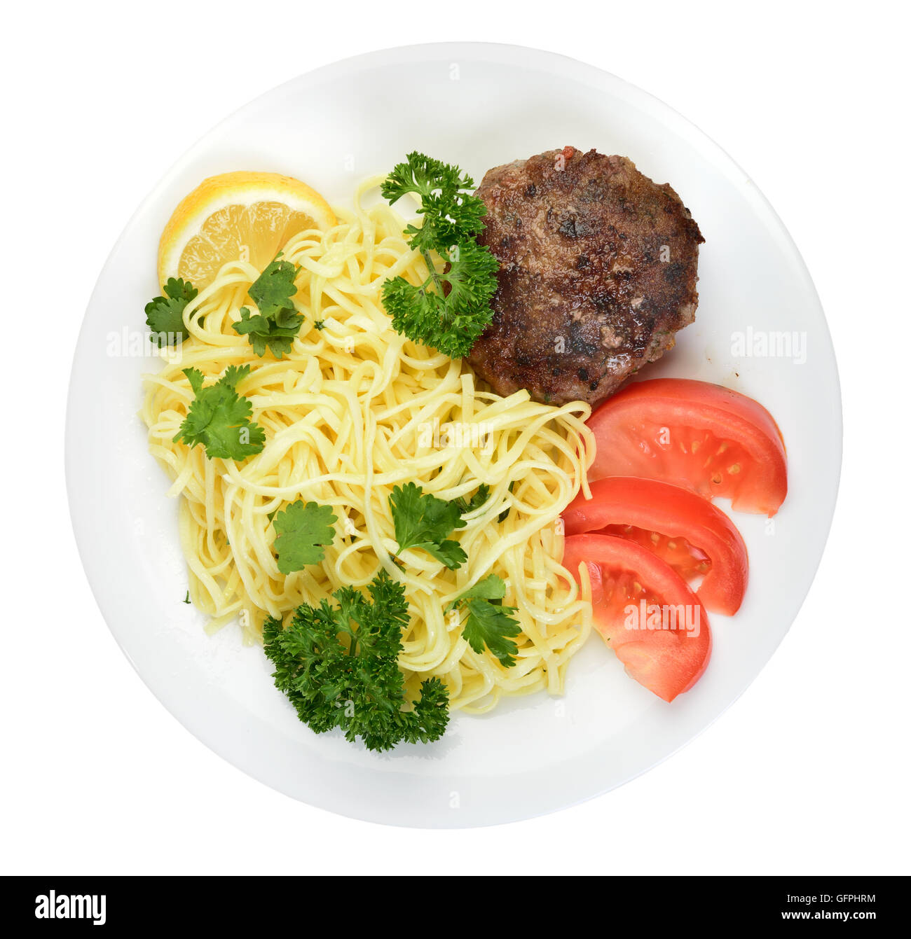 Spaghetti and Meatballs on plate isolated Top view Stock Photo