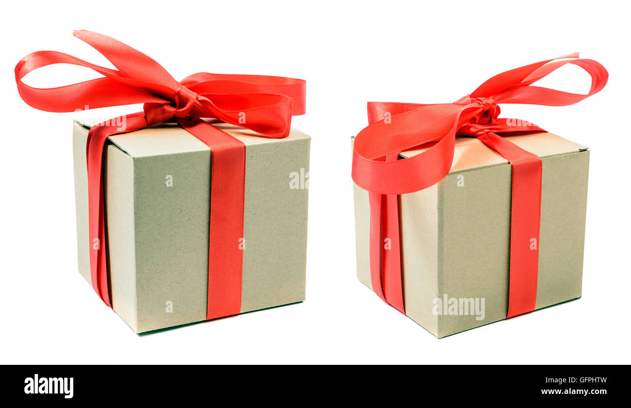 Two Gift boxes with ribbon bow - Stock Image