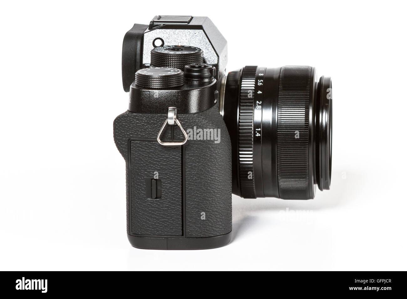 FUJIFILM X-T2, 24 megapixels, 4K video mirrorless camera on white background - Stock Image
