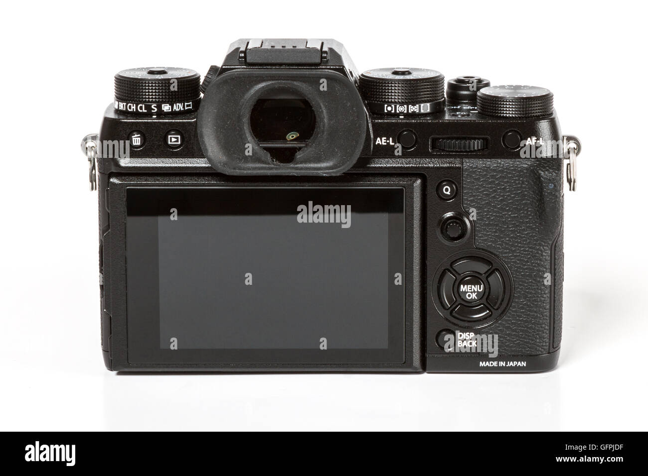 FUJIFILM X-T2, 24 megapixels, 4K video mirrorless camera from back on white background - Stock Image
