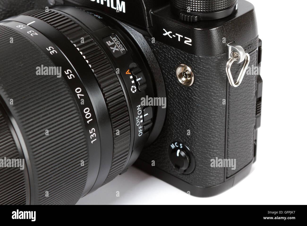 detail on  FUJIFILM X-T2, 24 megapixels, 4K video mirrorless camera fon white background - Stock Image