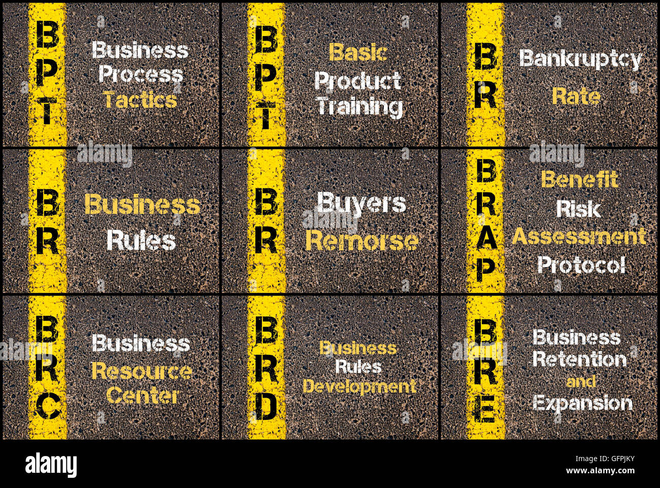 Photo collage of Business Acronyms written over road marking