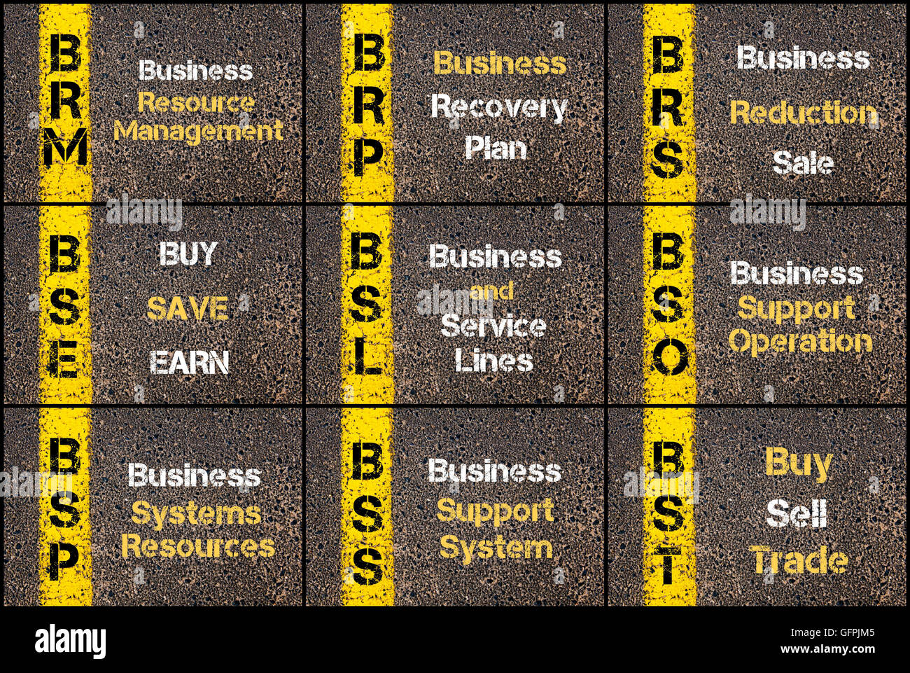 Photo collage of Business Acronyms written over road marking yellow paint line. BRM, BRP, BRS, BSE, BSL, BSO, BSP, - Stock Image
