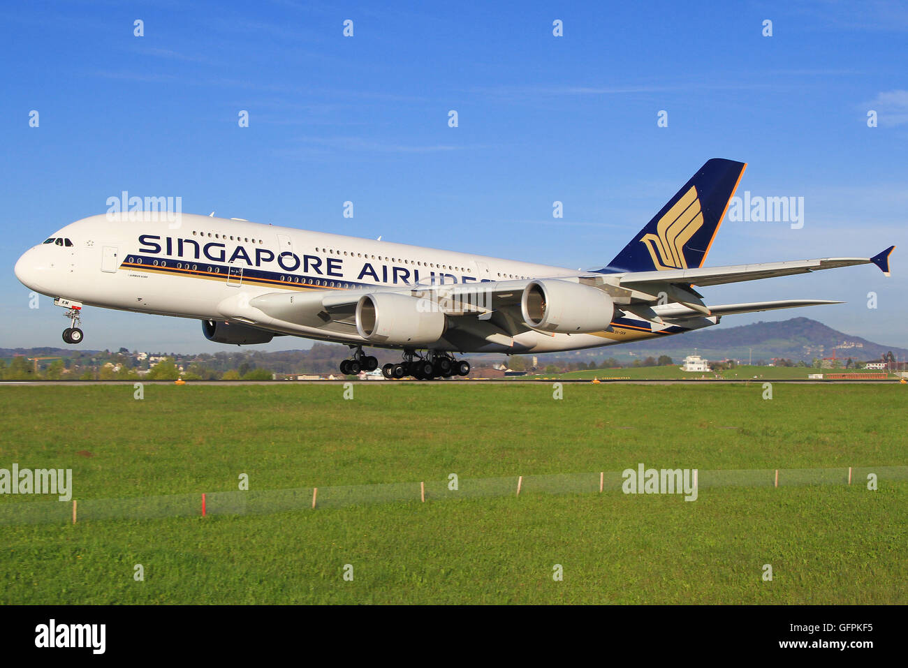 Zurich/Switzerland August 10, 2013: A380 from Singapore Airliners landing at Zürich Airport. - Stock Image