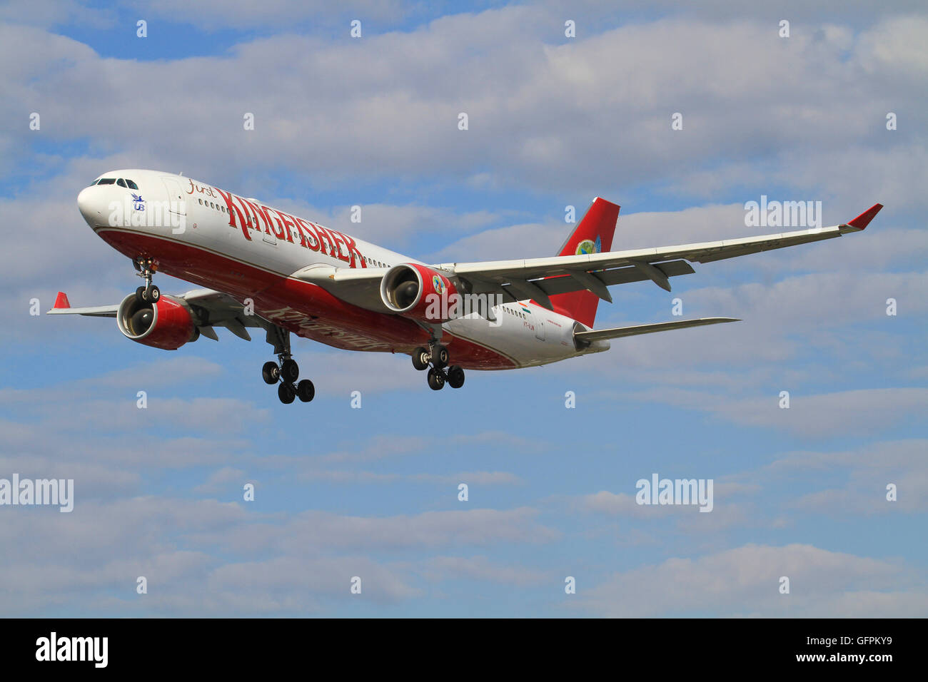 Heathrow/England August 10, 2012: Airbus A330 from kingfisher landing at Heathrow/Airport. - Stock Image