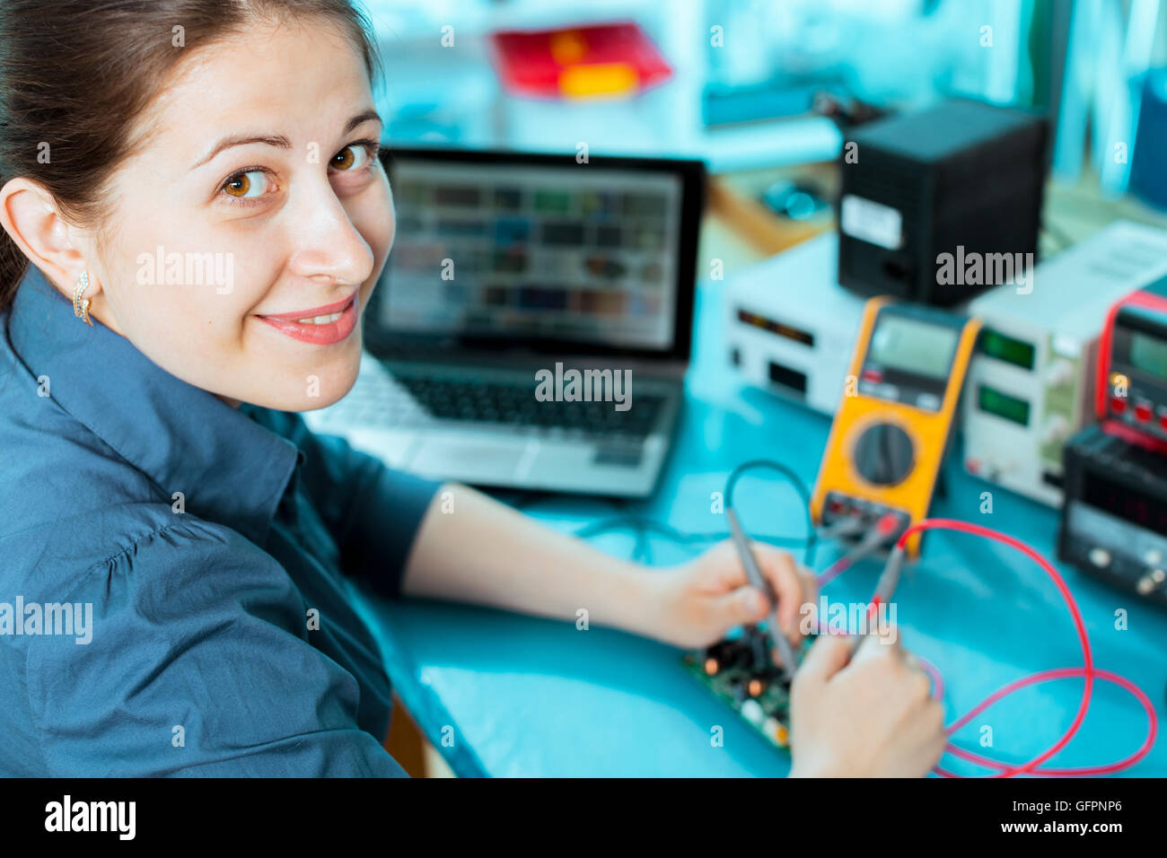 Production of electronic components at high-tech factory - Stock Image