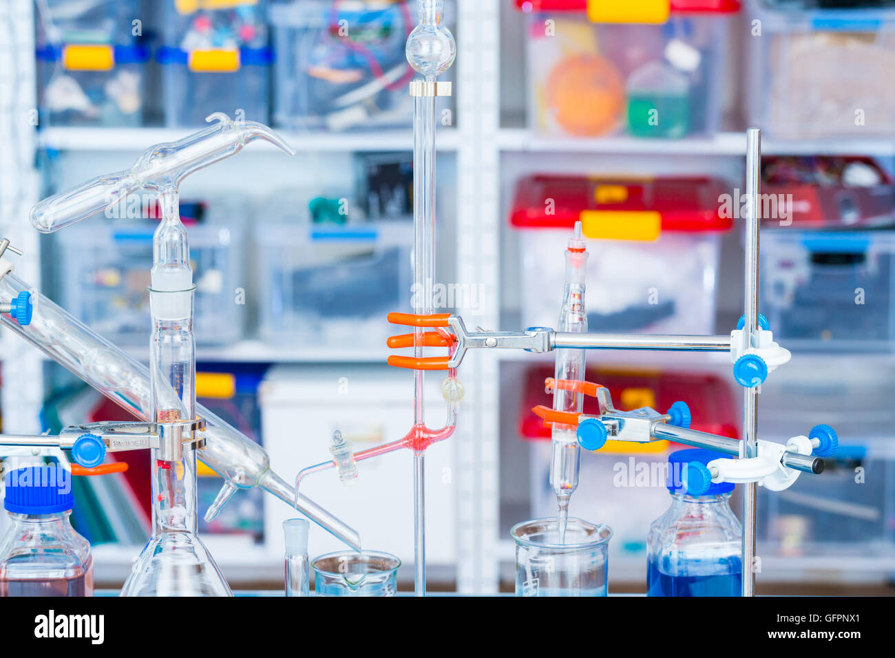 chemical glass setup in laboratory Stock Photo