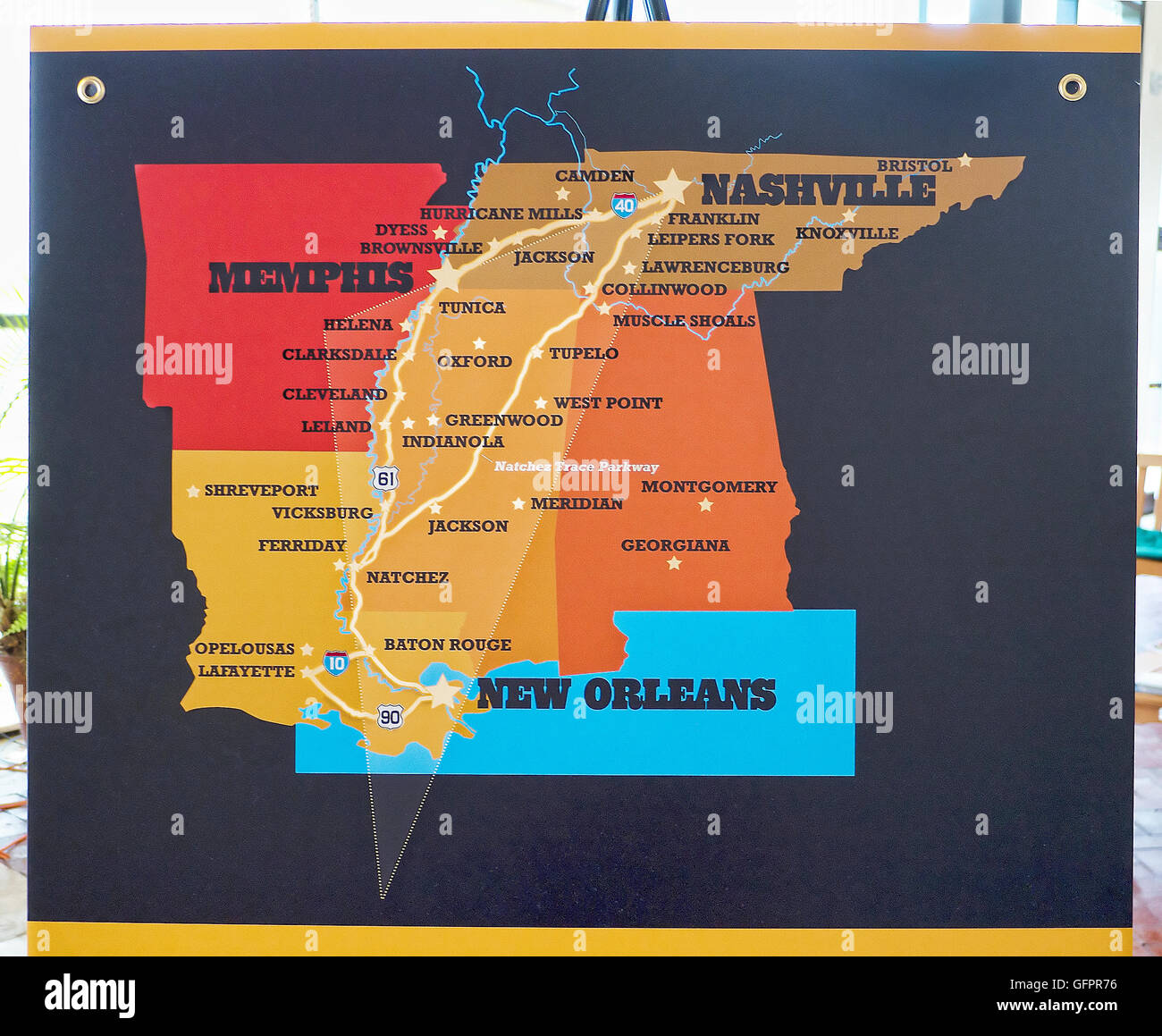 Map of the Deep South States in Memphis Tennessee USA Stock Photo