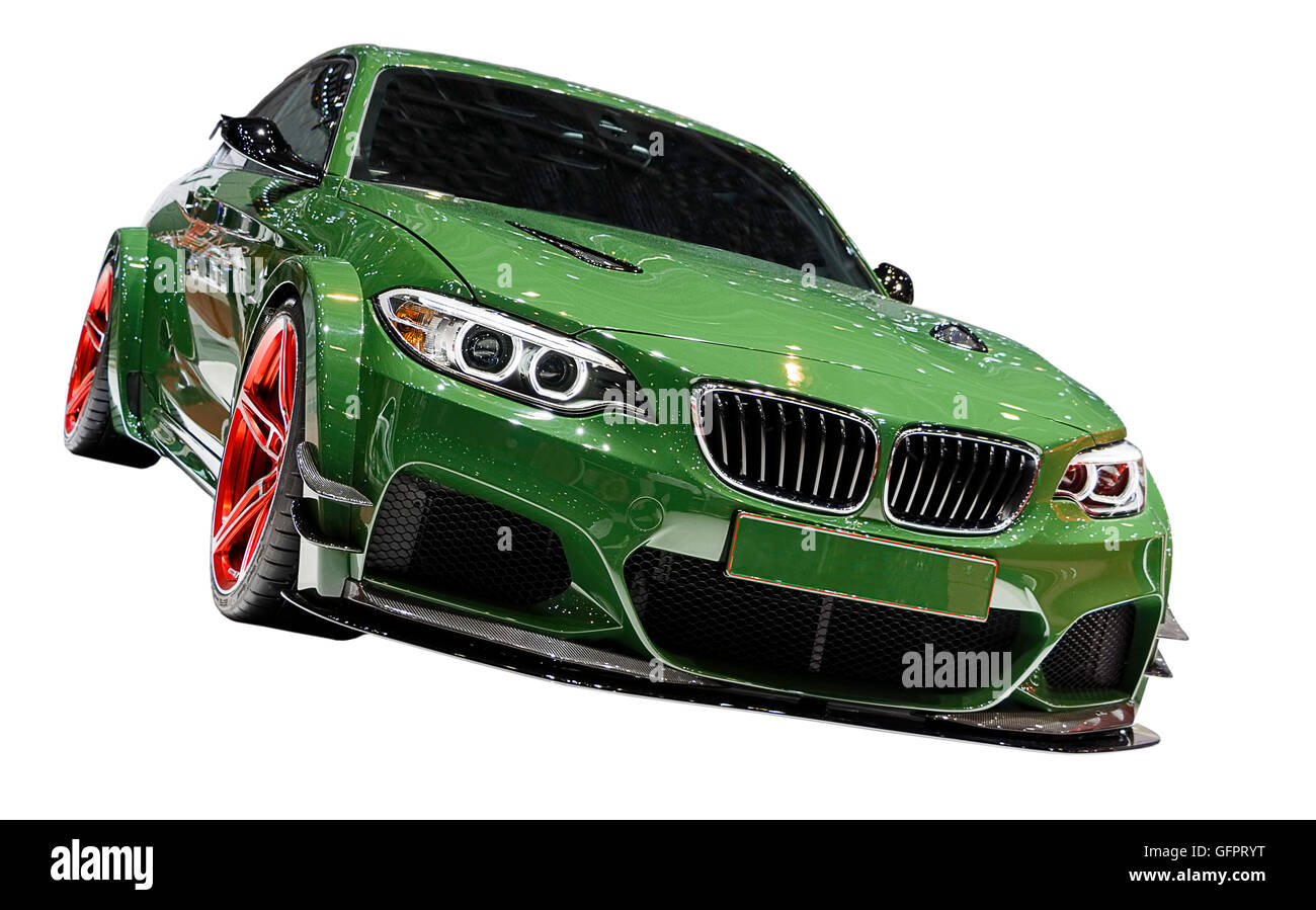 A Shot of a modified BMW with big allow wheels and a bodykit. Isolated with clipping path included - Stock Image
