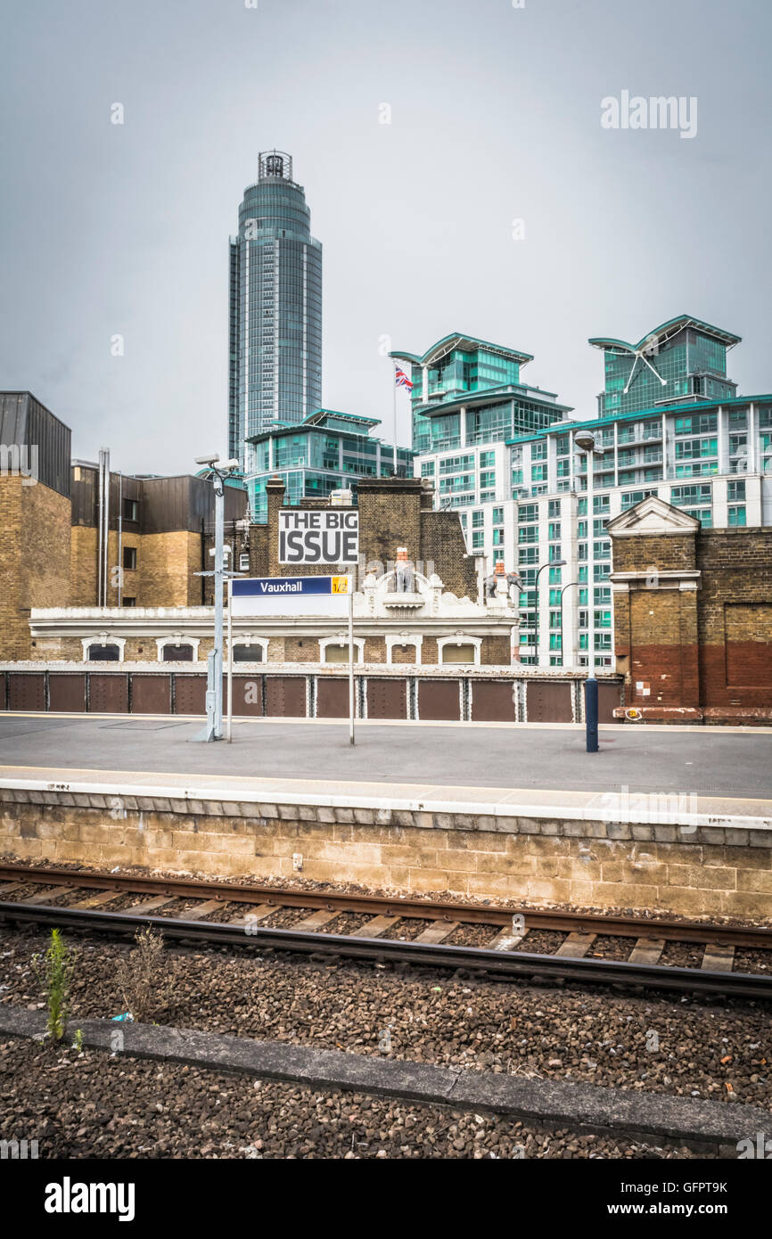 The Big Issue magazine offices seen from Vauxhall Station, Lambeth, London, UK - Stock Image