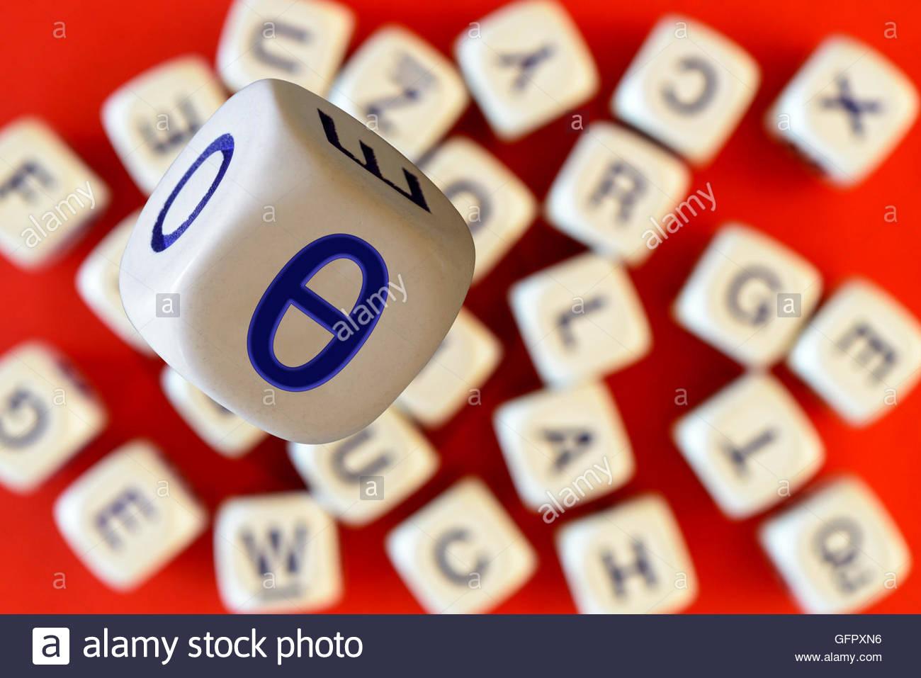 Theta On The Face Of Alphabet Dice Dorset England Britain Uk