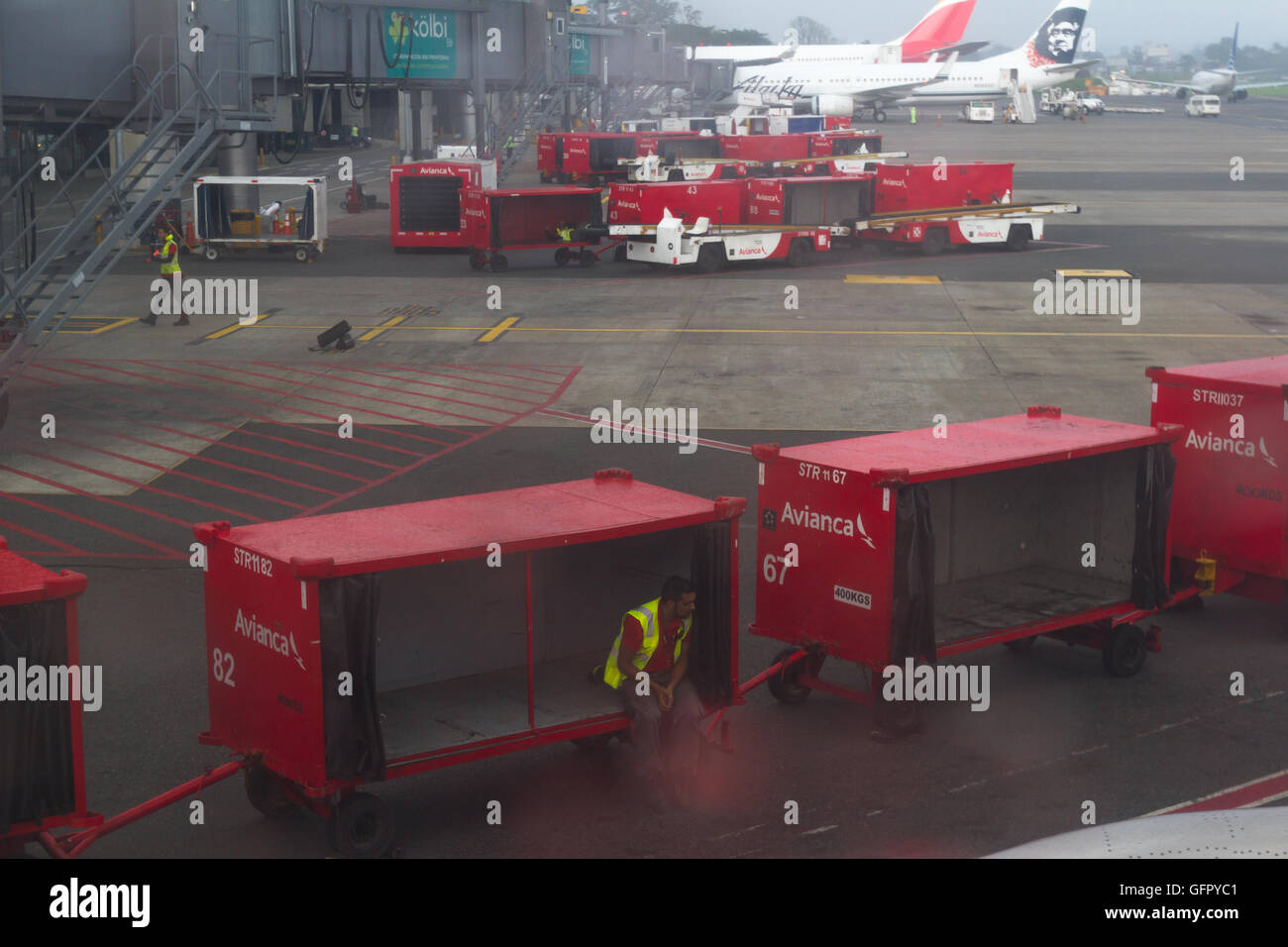 Costa Rica - May 09 : View of the workings on a rainy day of the International SJO airport, Costa Rica. May 09 2016 - Stock Image