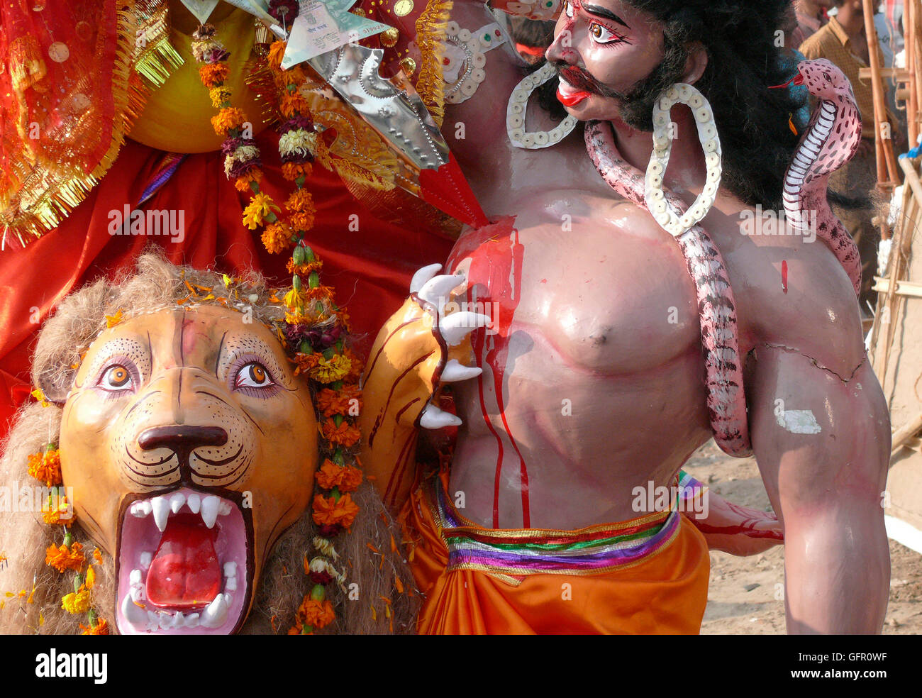 Traditionally sculptued deities from Indian mythology on the annual Dussera day. - Stock Image