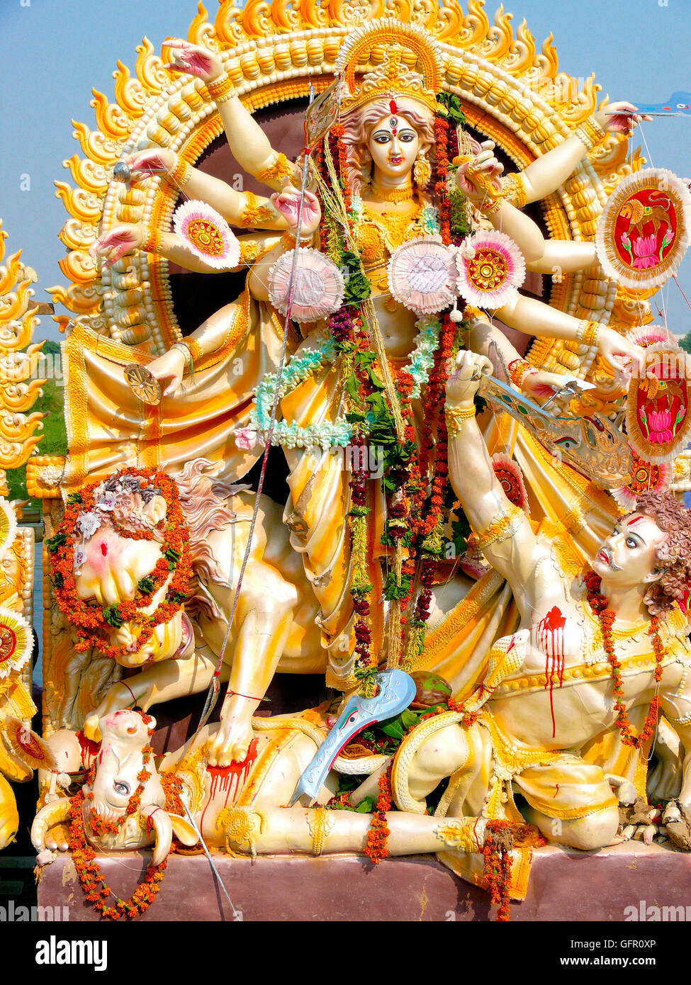 Traditionally sculpted deities from Indian mythology on the annual Dussera day. - Stock Image