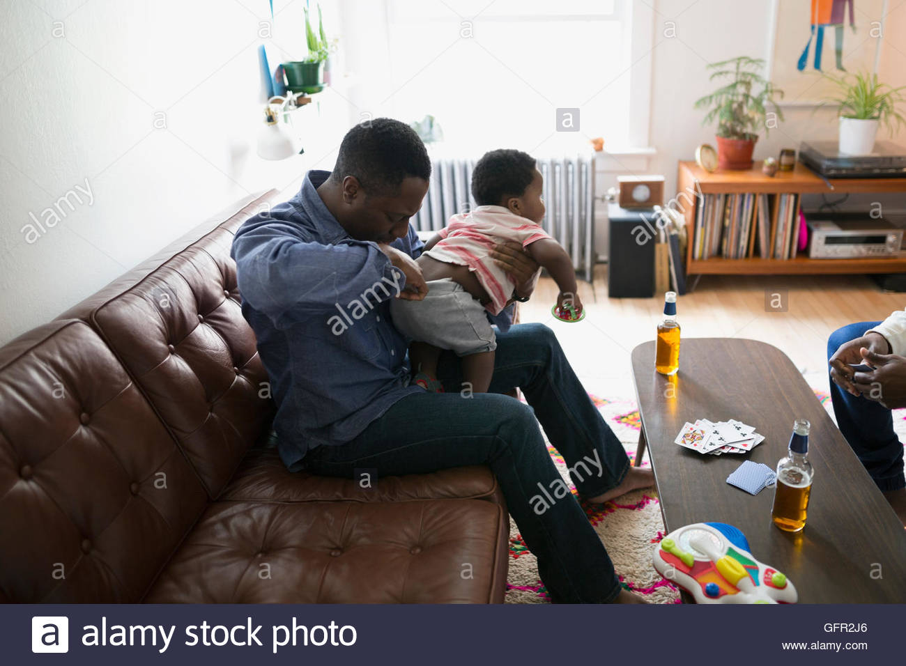Father checking son - Stock Image