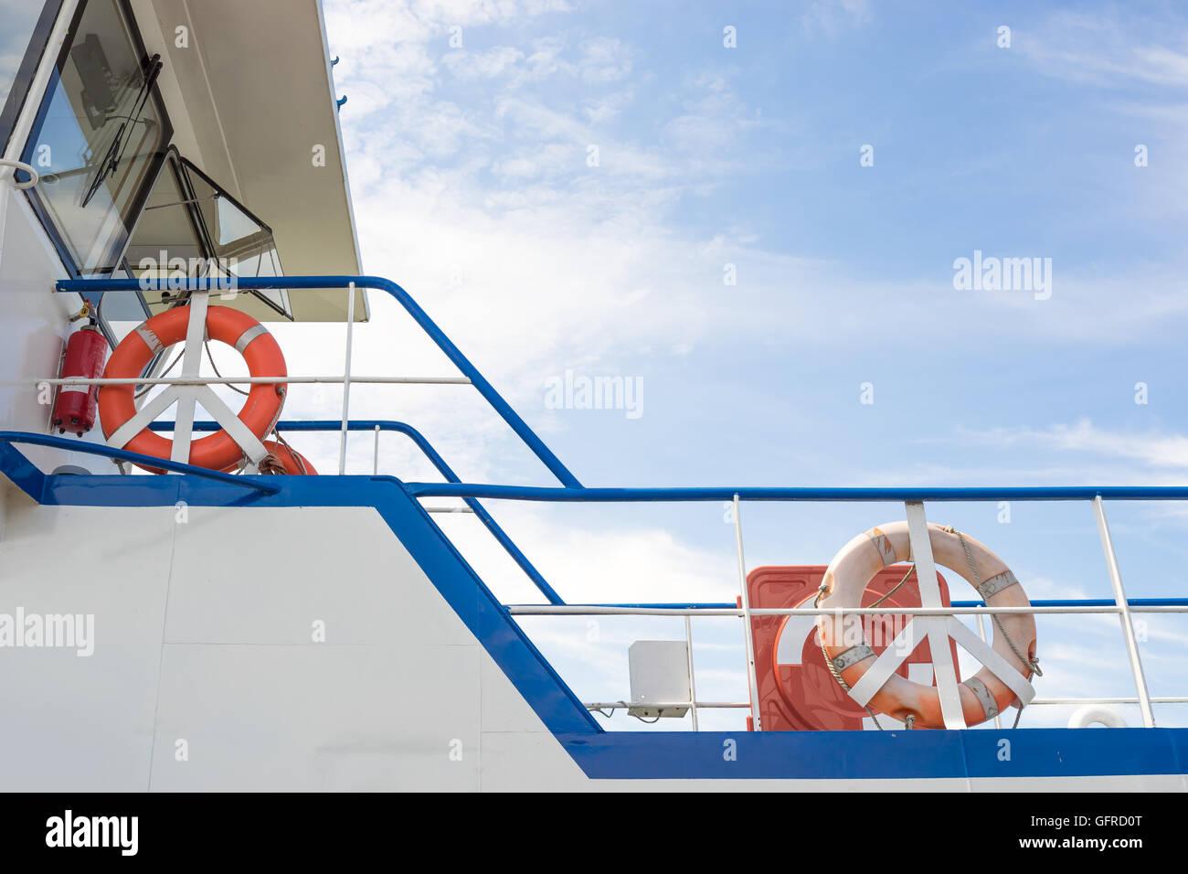 Close up rhine ferry Bingen Ruedesheim - Stock Image