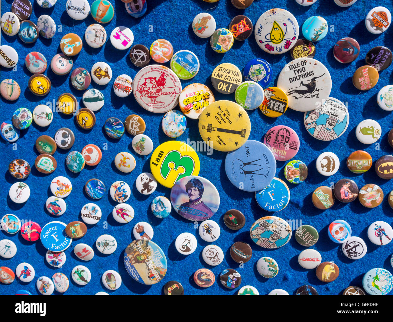 Display of second hand pin badges for sale in Whitby North Yorkshire