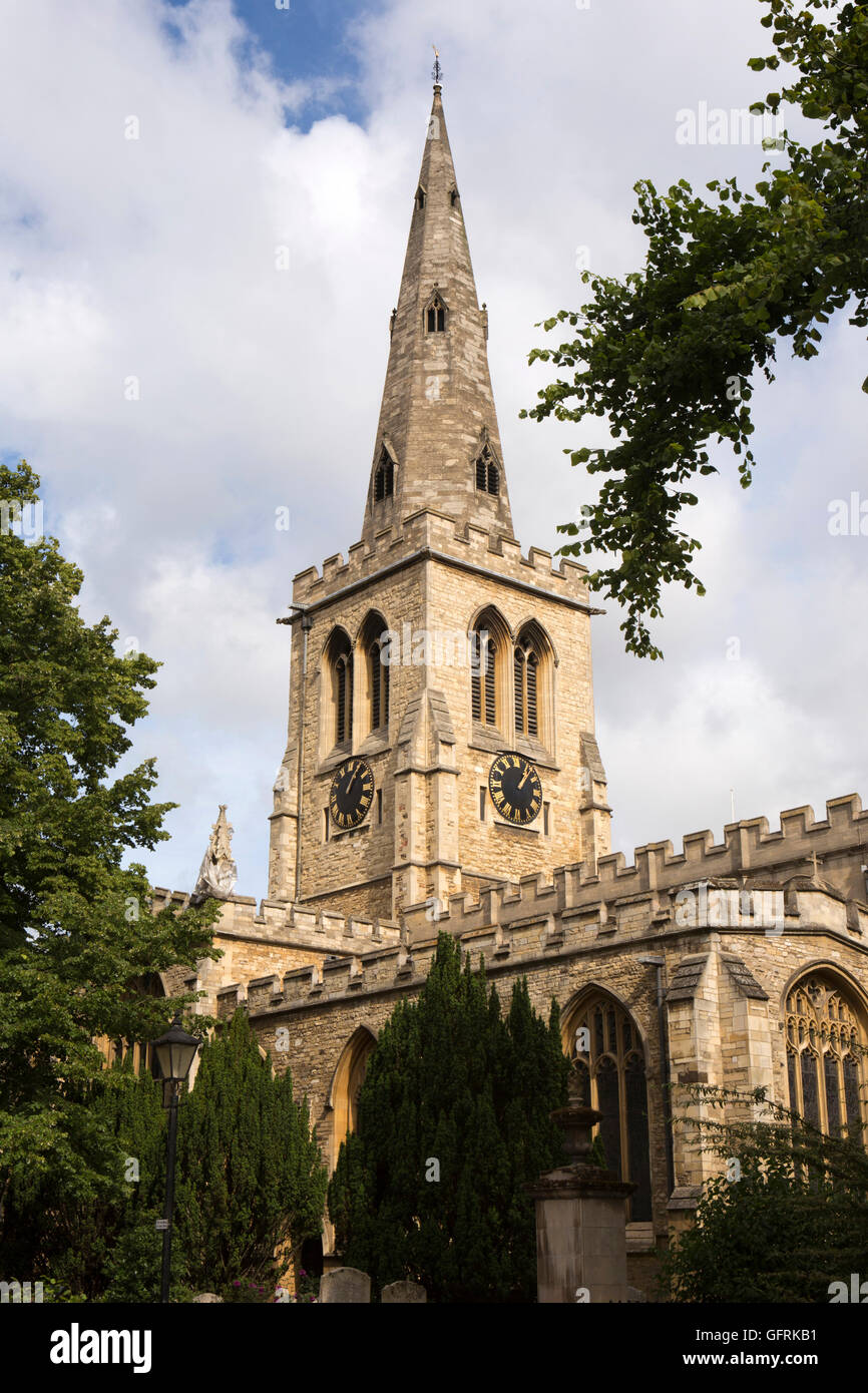 UK, England, Bedfordshire, Bedford, St Paul's Square, spire of St Paul's Church - Stock Image