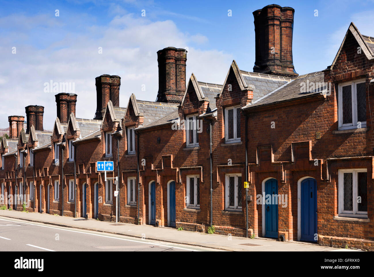 UK, England, Bedfordshire, Bedford, Dame Alice Street almshouse,s built by the Harpur Trust, between 1805-16 - Stock Image