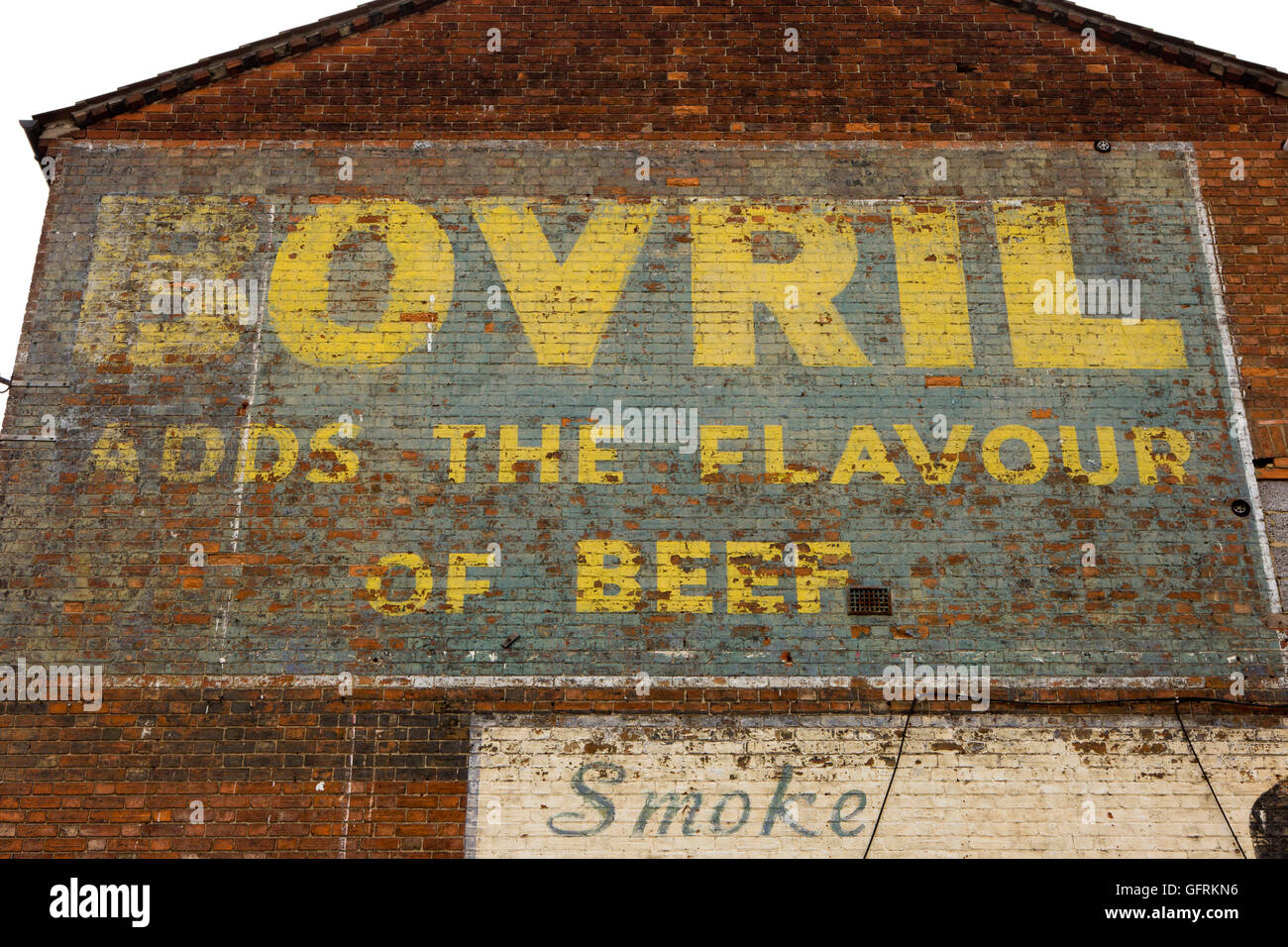 UK, England, Bedfordshire, Bedford, Western Street, old painted Bovril advertisement on house gable end wall - Stock Image