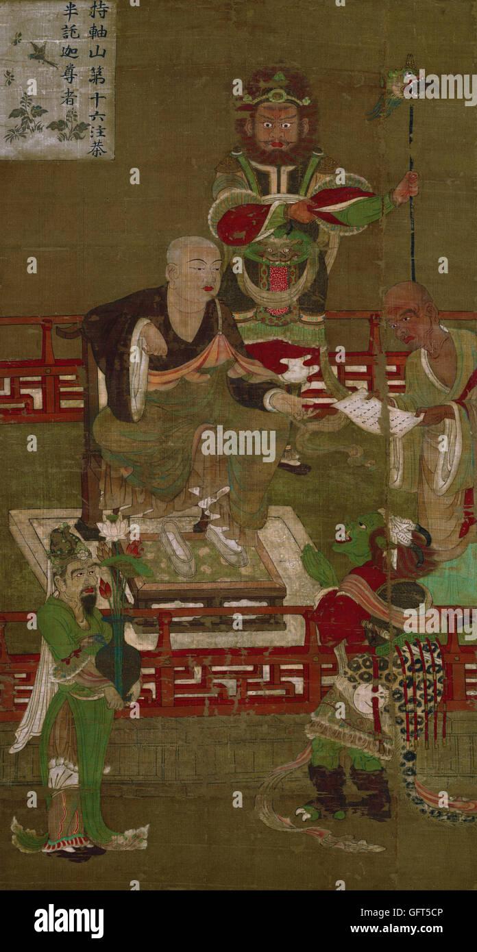 Sixteen Arhats- Sixteenth Arhat, Chudapanthaka - Stock Image