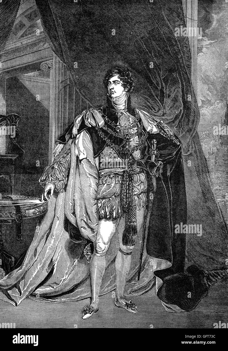 George IV (George Augustus Frederick (1762 – 1830) was King of the United Kingdom of Great Britain and Ireland and - Stock Image