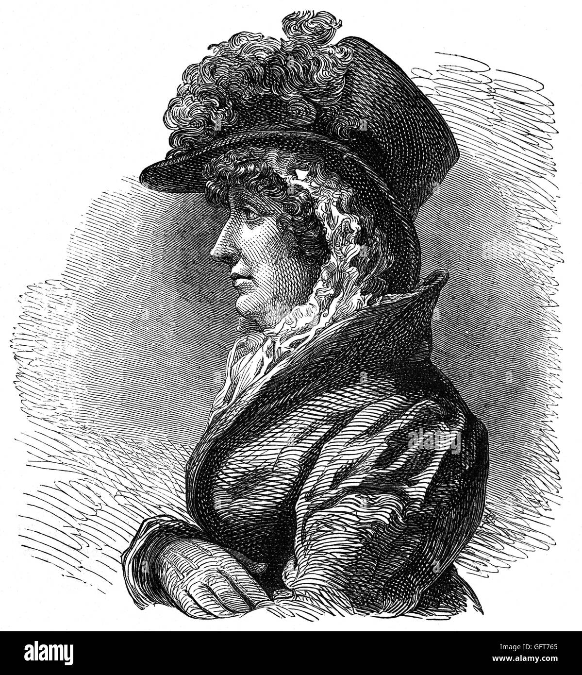 Queen Caroline or Caroline of Brunswick (1768 – 1821), was the wife of King George IV from 29 January 1820 until - Stock Image