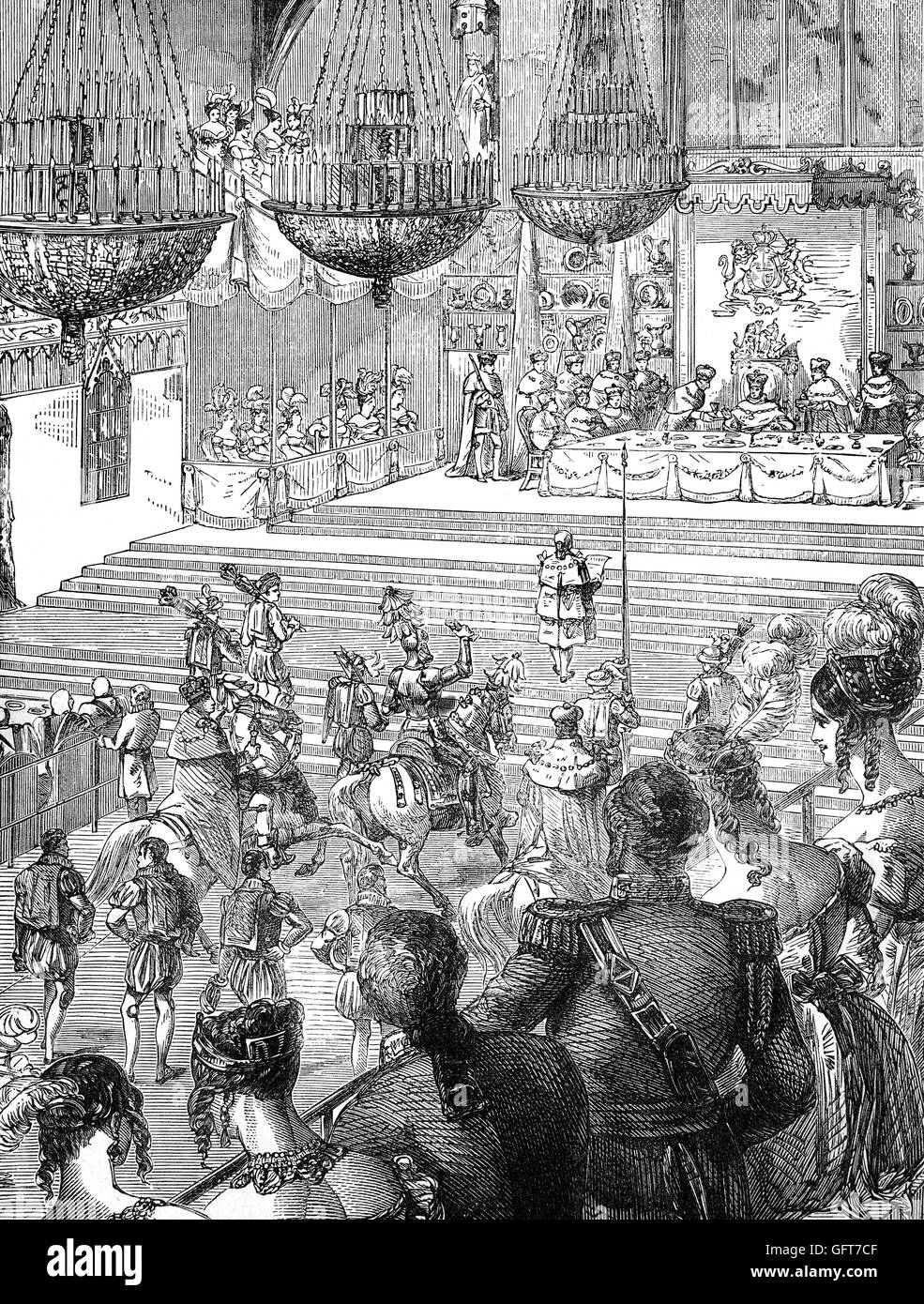 The Champions Challenge at the the Banquet following the 1821 Coronation of George IV held in Westminster Hall. - Stock Image