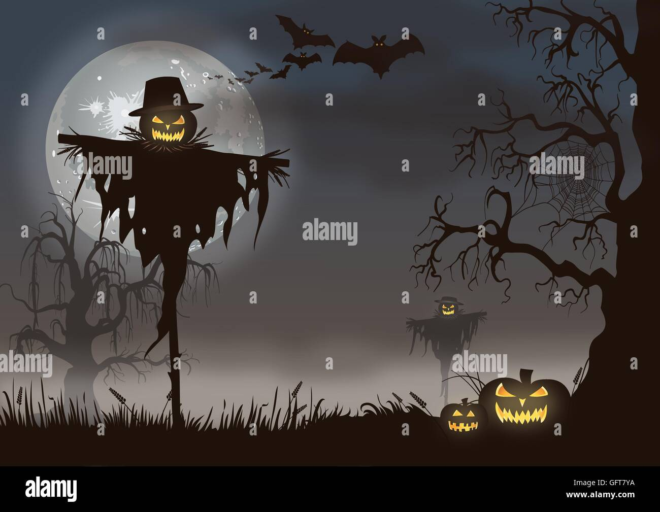 Creepy Halloween scene with a scarecrow and pumpkins - Stock Vector