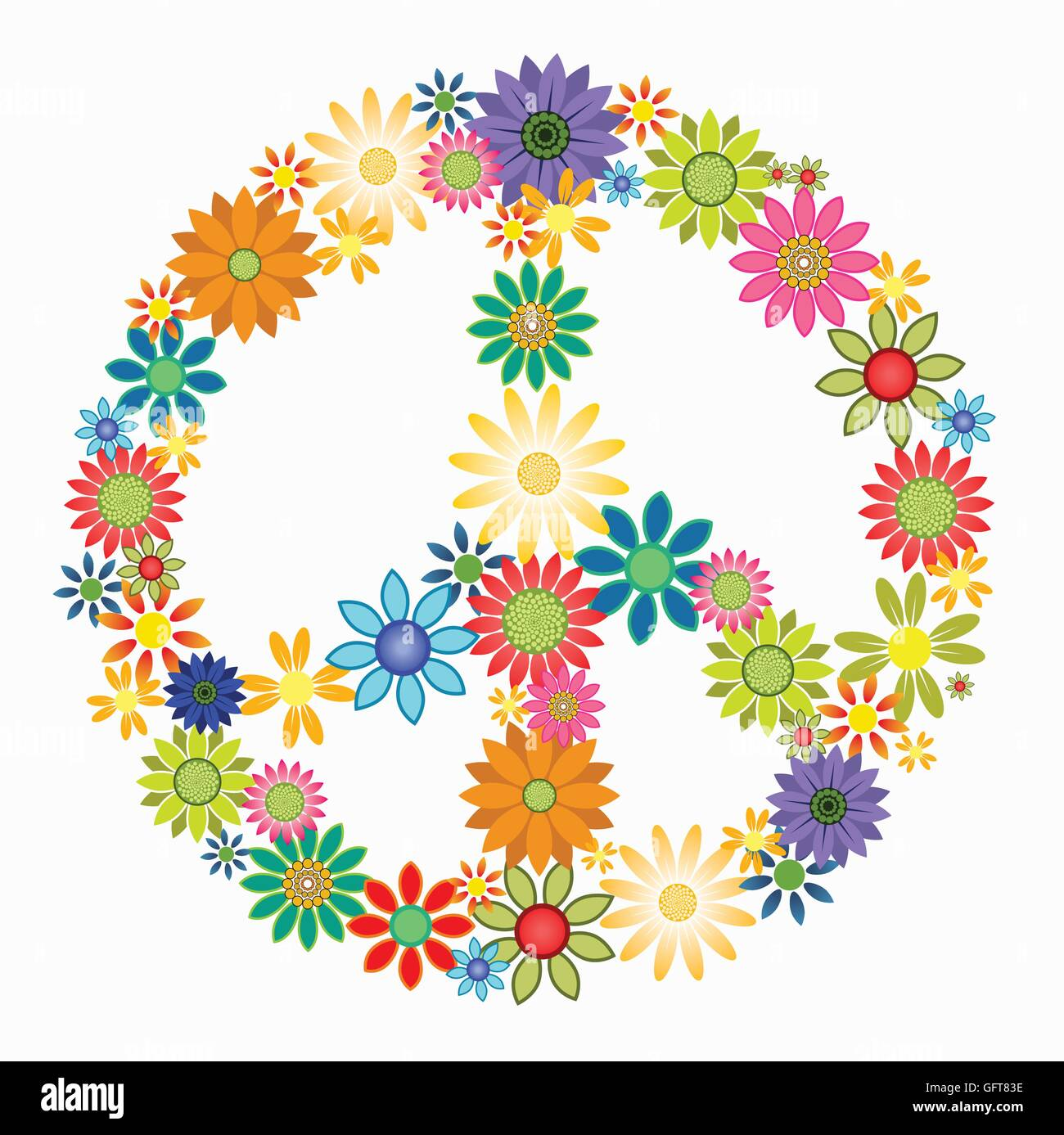 Vector Colourful Flowers Arrange To Form A Peace Symbol Stock Vector