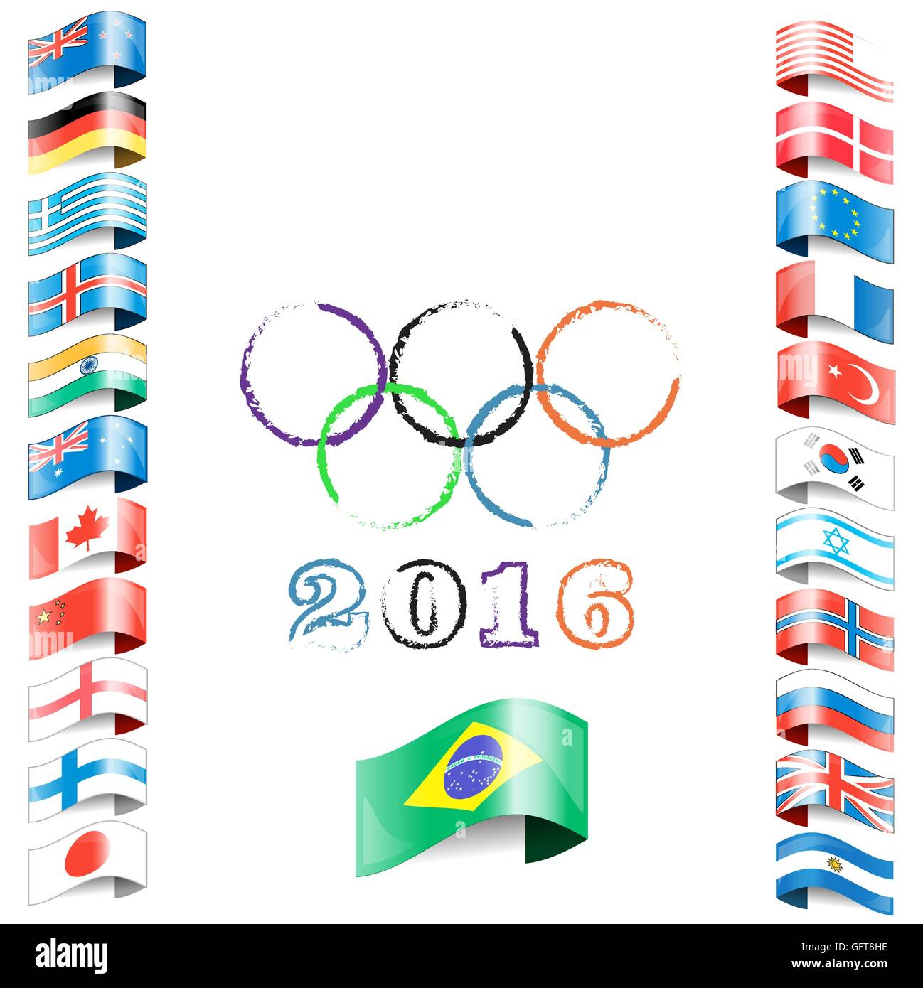 olympic flags rings rio - Stock Vector