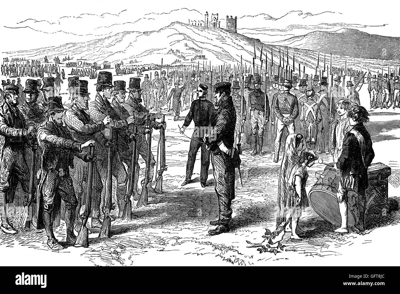 A 19th Century Sunday parade of irregular militia men on parade near Cashel Rock outside Cashel Town in County Tipperary, - Stock Image