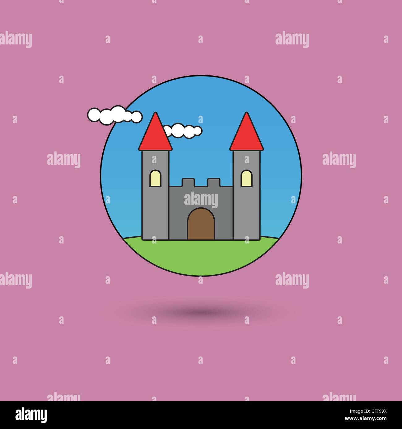 Castle On A Hill Stock Vector Images - Alamy