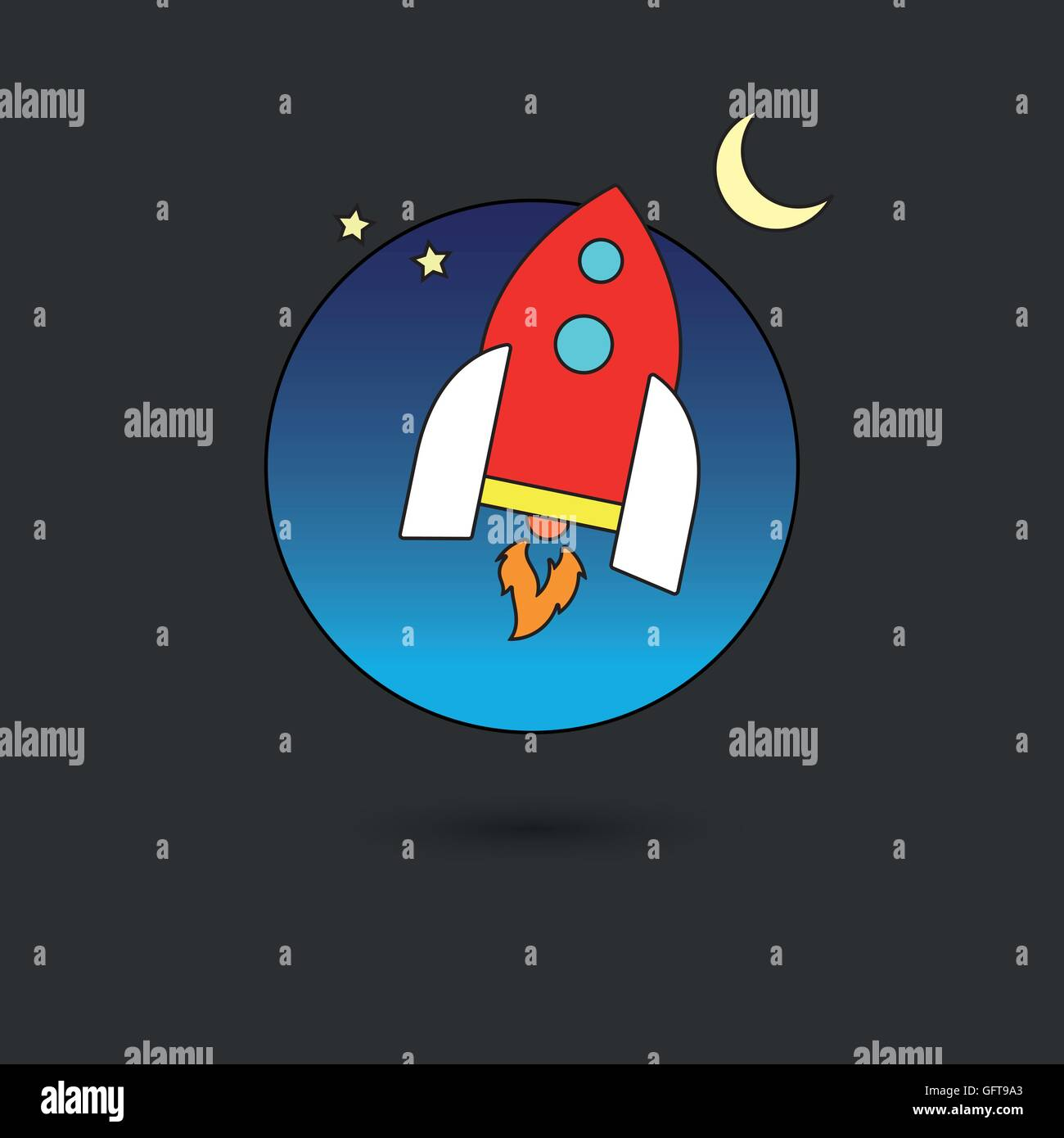 spaceship in the sky, line icon style with color fill - Stock Image