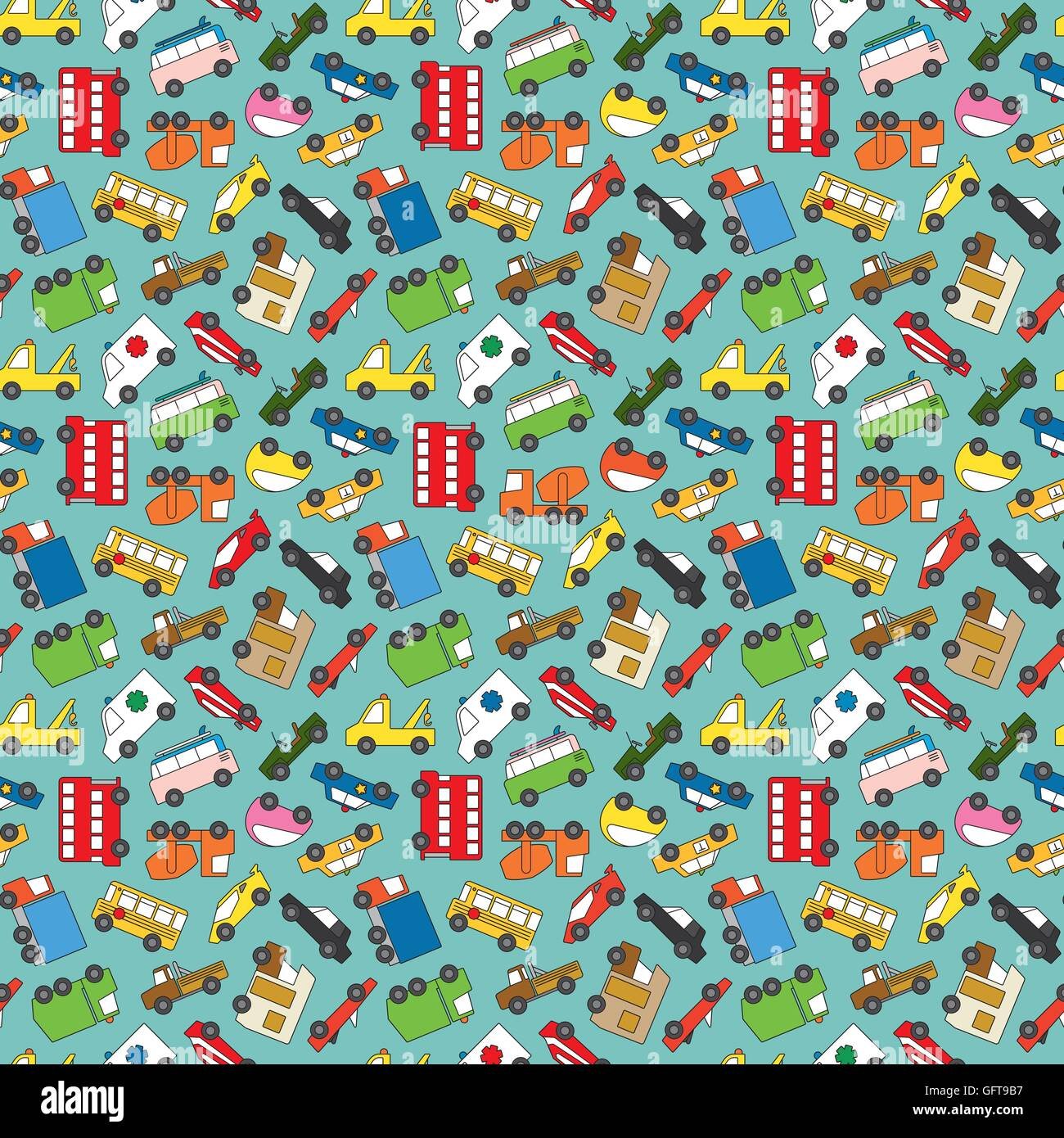 Seamless pattern from various cars, trucks and vans vector - Stock Image