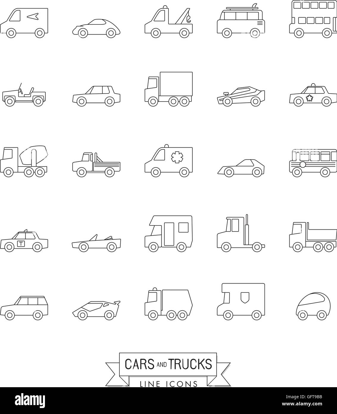 Cars, vans and other motor vehicles line icon set Stock Vector